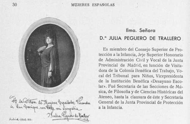 Julia Peguero, Mujeres Españolas, Abril, 1930