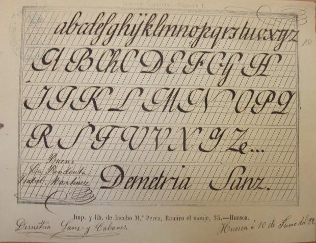 1889. Demetria. Caligrafía