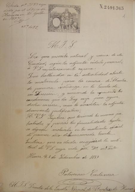 1887. Patrocinio. Solicita ingreso