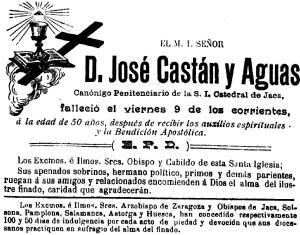 Castán, José. Esquela