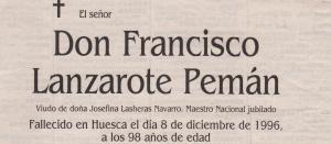 Esquela Francisco (Paco) Lanzarote