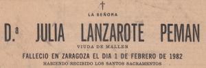 Esquela Julia Lanzarote 1982