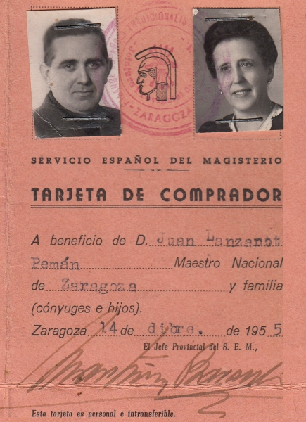 Juan Lanzarote. Tarjeta comprador 1955 Zaragoza
