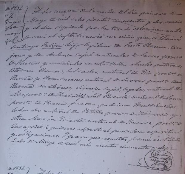 Ramón y Cajal. Bautismo
